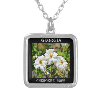 Georgia Cherokee Rose 2 Silver Plated Necklace