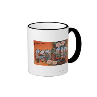 Georgia (Cherokee Rose) - Large Letter Scenes Coffee Mugs
