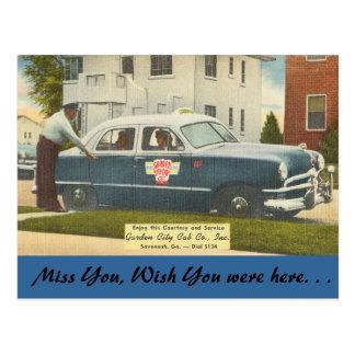 Georgia, City Cab, Savannah Postcard