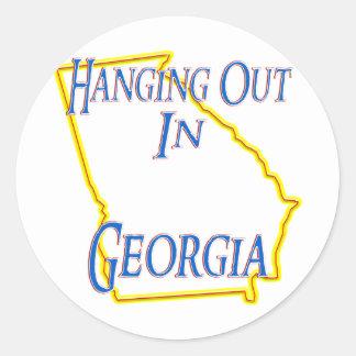 Georgia - colgando hacia fuera etiqueta redonda