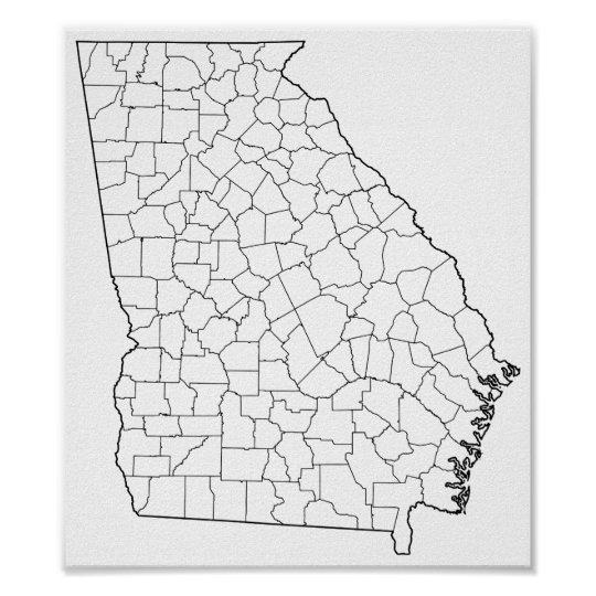 State Of Georgia County Map.Georgia Counties Blank Outline Map Poster