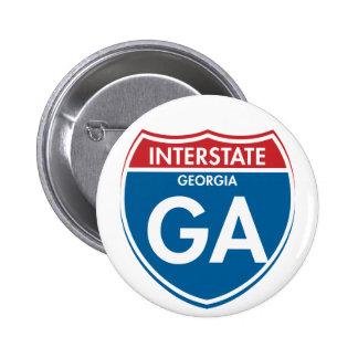 Georgia de un estado a otro GA Pin Redondo De 2 Pulgadas
