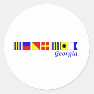 Georgia deletreó en alfabeto náutico de la bandera pegatinas redondas