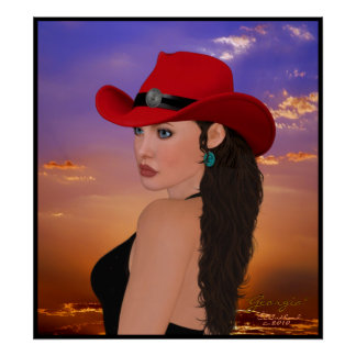 """Georgia"" digital Artwork Western Cowgirl Print"