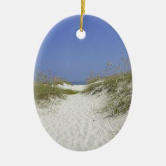 Georgia Dunes Double-Sided Oval Ceramic Christmas Ornament
