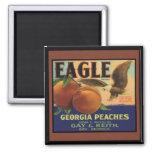 Georgia Eagle Peaches 2 Inch Square Magnet