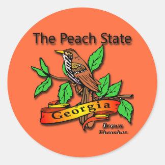 Georgia el estado Brown Thrasher del melocotón Pegatina Redonda