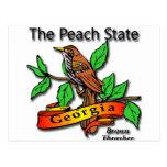 Georgia el estado Brown Thrasher del melocotón Postal