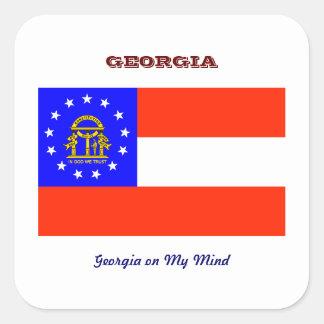 Georgia Flag and Slogan Square Sticker