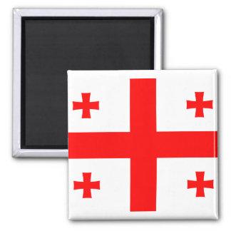 Georgia Flag GE 2 Inch Square Magnet