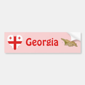 Georgia Flag Heart + Map Bumper Sticker