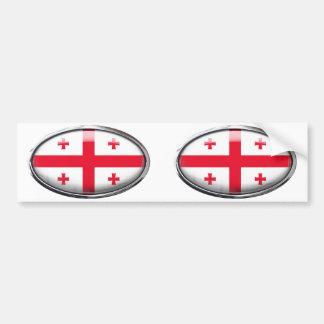 Georgia Flag in Glass Oval Bumper Sticker
