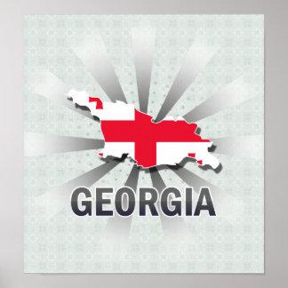 Georgia Flag Map 2.0 Poster