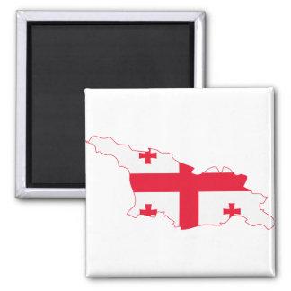 Georgia Flag Map GE 2 Inch Square Magnet