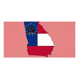 Georgia Flag Map Photo Greeting Card