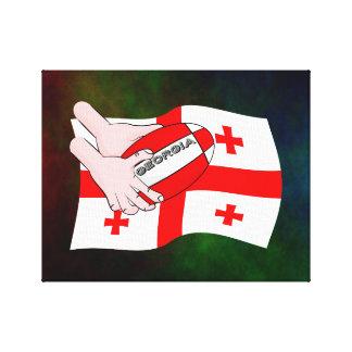 Georgia Flag Rugby Ball Pass Cartoon Hands Canvas Print