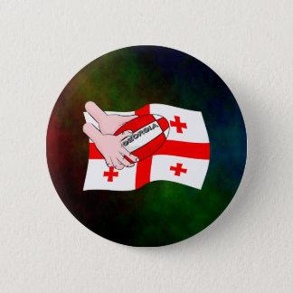 Georgia Flag Rugby Ball Pass Cartoon Hands Pinback Button