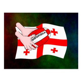 Georgia Flag Rugby Ball Pass Cartoon Hands Postcard