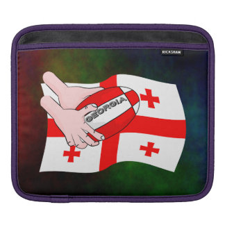 Georgia Flag Rugby Ball Pass Cartoon Hands Sleeve For iPads