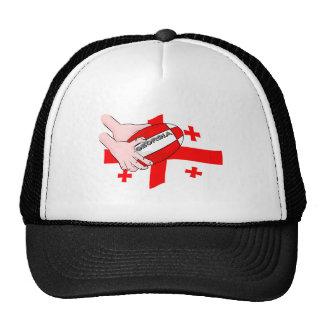 Georgia Flag Rugby Ball Pass Cartoon Hands Trucker Hat