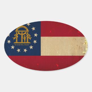 Georgia Flag VINTAGE.png Oval Sticker