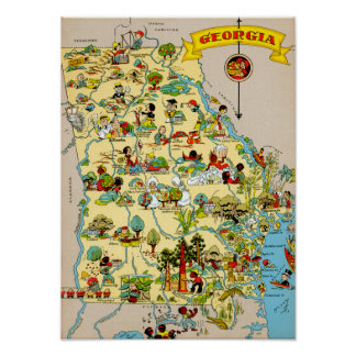 Georgia Funny Vintage Map Poster
