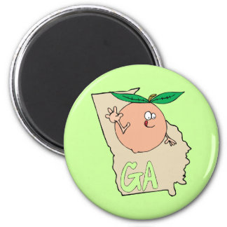 Georgia GA Cartoon Map with funny smiling peach Fridge Magnets