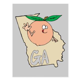 Georgia GA Cartoon Map with funny smiling peach Postcard