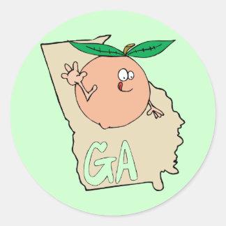 Georgia GA Cartoon Map with funny smiling peach Sticker