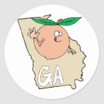 Georgia GA Cartoon Map with funny smiling peach Classic Round Sticker