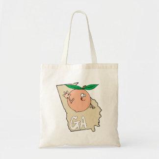Georgia GA Cartoon Map with funny smiling peach Tote Bag