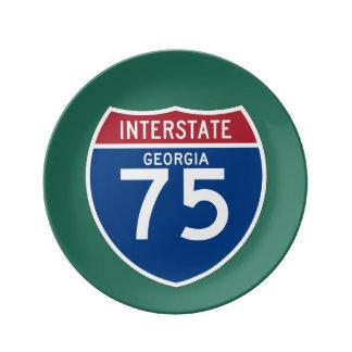 Georgia GA I-75 Interstate Highway Shield - Dinner Plate