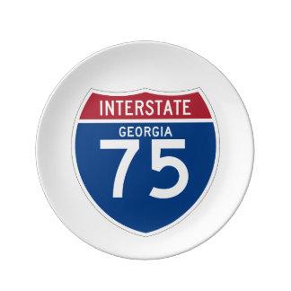 Georgia GA I-75 Interstate Highway Shield - Porcelain Plate