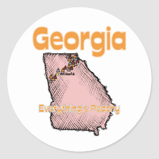 Georgia GA US Motto ~ Everything's Peachy Classic Round Sticker