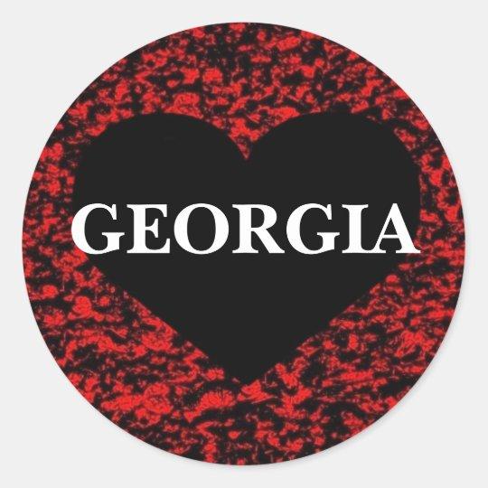 Georgia Heart Red Classic Round Sticker
