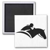 Georgia Horseback - Black Silhouette Magnet