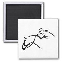 Georgia Horseback - White Silhouette Magnet