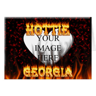 Georgia Hottie fire and red marble heart. Card