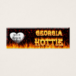 Georgia Hottie fire and red marble heart. Mini Business Card