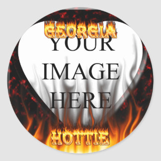 Georgia Hottie fire and red marble heart. Sticker