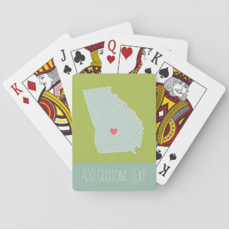 Georgia Love with Custom Heart and Text Playing Cards