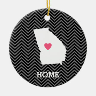 Georgia Map Home State Love with Custom Heart Double-Sided Ceramic Round Christmas Ornament