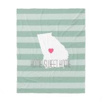 Georgia Map Home State Love with Custom Heart Fleece Blanket