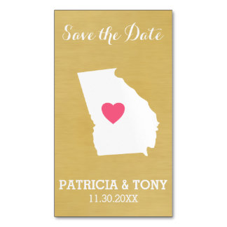 Georgia Map Home State Love with Custom Heart Magnetic Business Cards (Pack Of 25)