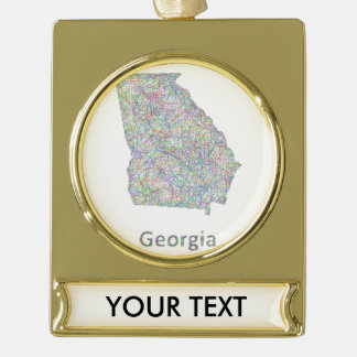 Georgia map gold plated banner ornament