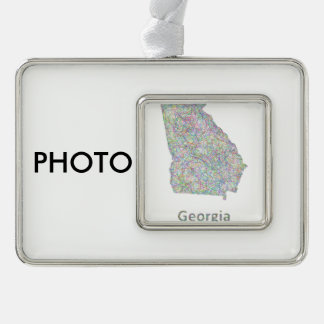 Georgia map silver plated framed ornament