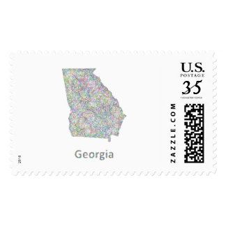 Georgia map postage stamp