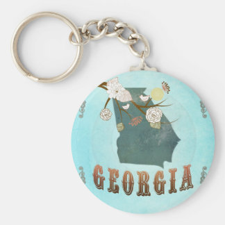 Georgia Map With Lovely Birds Basic Round Button Keychain