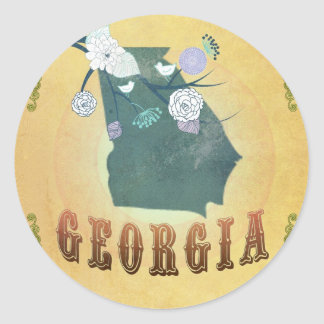 Georgia Map With Lovely Birds Classic Round Sticker