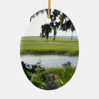 Georgia Marshland Double-Sided Oval Ceramic Christmas Ornament
